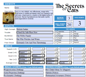 lucy character sheet
